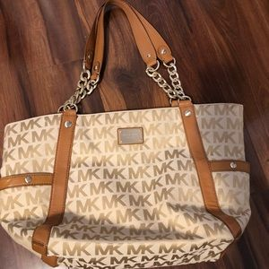 Michael Kors Chain Link Canvas Tote